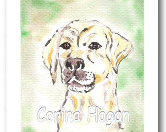 Original Irish Watercolour Painting by Artist CORINA HOGAN - Golden Labrador (Retriever dog animal loyal and clever)