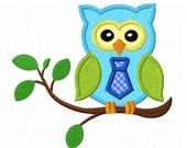 Instant Download Boy Owl On Branch Applique Machine Embroidery Design NO:1387