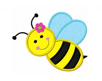 Instant Download Girl Bee Applique Machine Embroidery Design NO:1406
