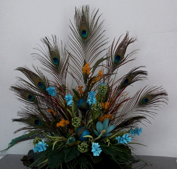 Peacock Floral Arrangement Tuscan Style Design Gift