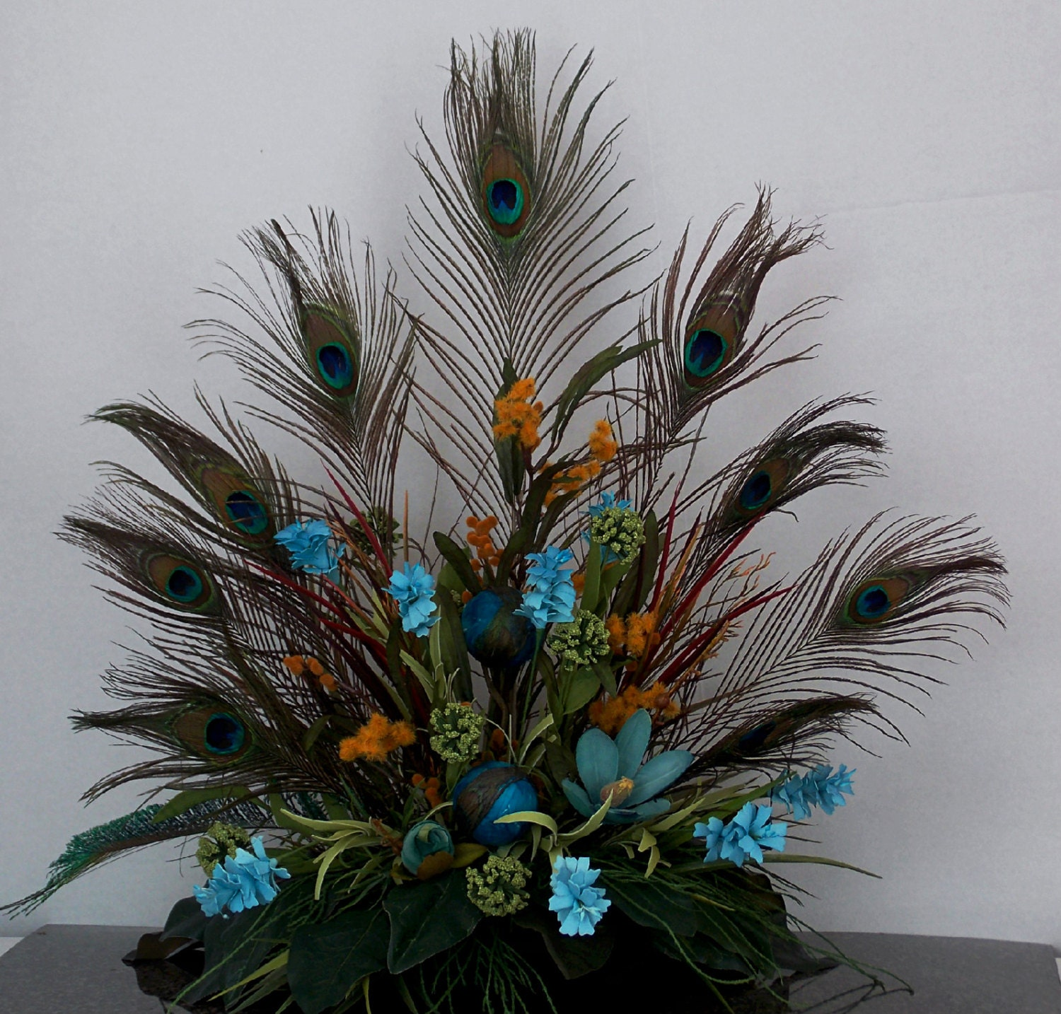 Peacock Floral Arrangement Tuscan Style Floral Design Gift