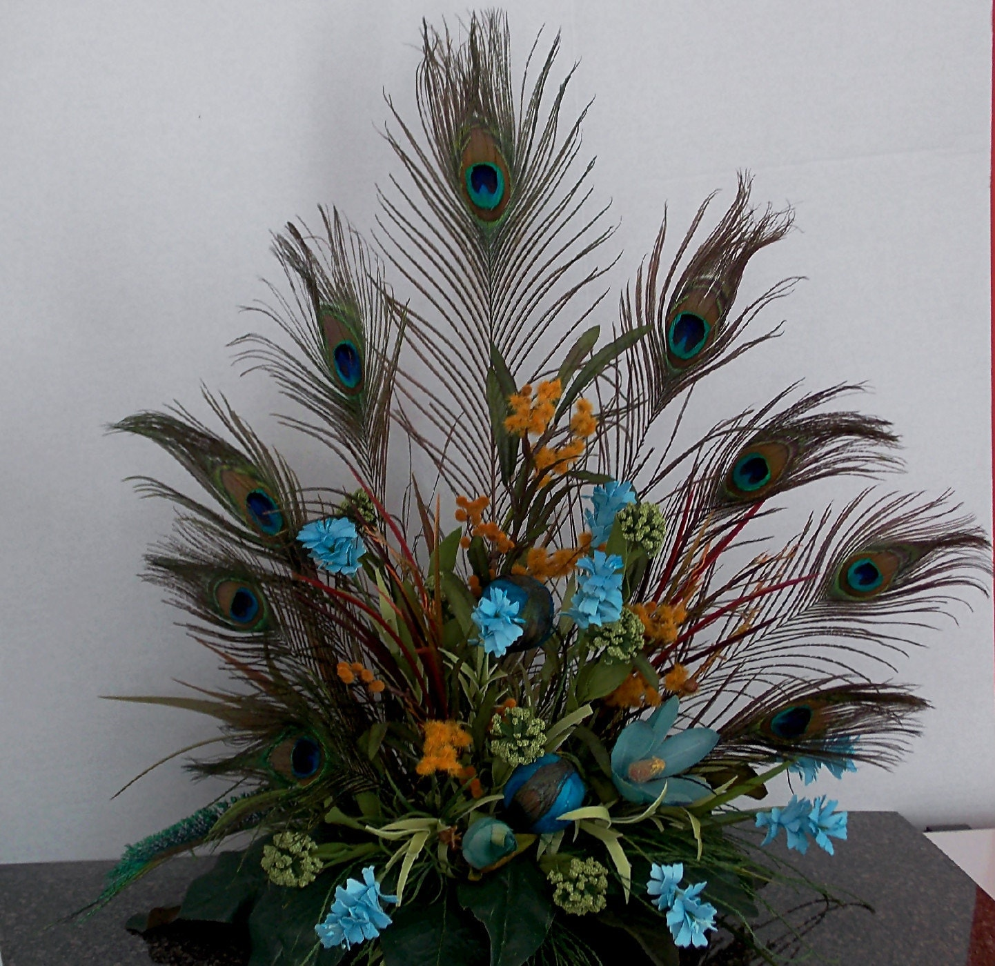 Peacock Floral Arrangement Tuscan Style By