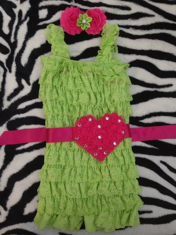 Valentine Romper/ Lime Lace Romper/ FlowerGirl dress/ Heart Sash/ Valentine Sash/ Pageant/ First Valentine's Day/ Birthday