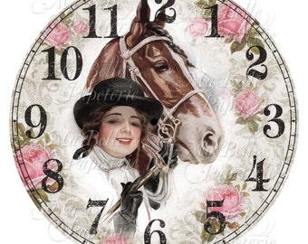 Shabby Chic Clock-DIY Clock Face with Vintage Image Of A Harrison Fisher Lady and Horse