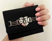 Silver Heart and Chains Lady Cameo Rhinestones Black Wallet
