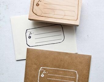 Address Stamp, Label Stamp, Gift Tag Rubber Stamp, Address Rubber Stamp, Christmas Rubber Stamp