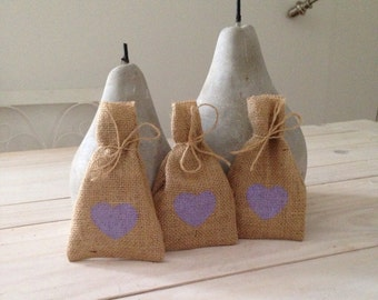50 Purple Hessian/ Burlap Wedding Favor Bags