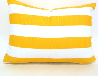 CLEARANCE SALE  Premier Prints Yellow White Canopy Stripe Lumbar Pillow Cover