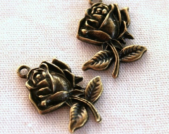 6 Antique Bronze Rose Charms/Pendants - CB -0026
