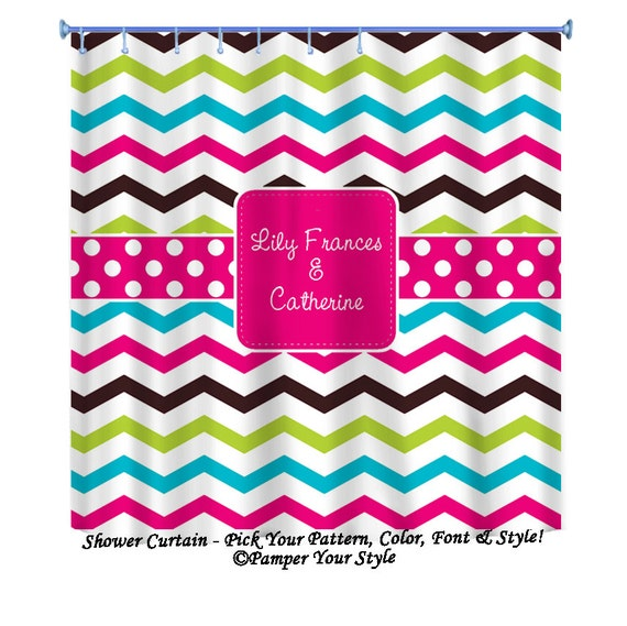 Multi Color Chevron Shower Curtain Custom By PAMPERYOURSTYLE
