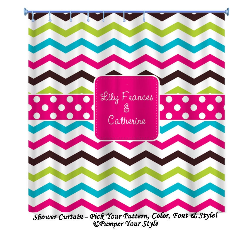 Multi Color Chevron Shower Curtain Custom Decor Sibling