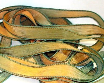 """Golden Harvest 42"""" hand dyed silk wrist wrap bracelet ribbon//Yoga wrist wrap bracelet ribbon//Silk wrist wrap ribbon// By Color Kissed Silk"""