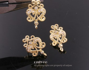 1pair/2pcs-11mmX18mmGold plated Brass Zircon Earrings Shapely Stone Lily Hook Ear post(K530G)