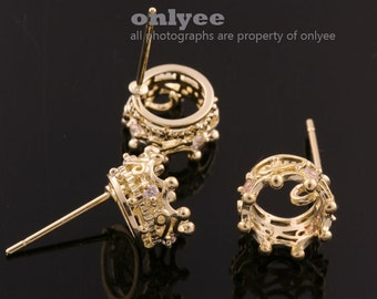 5pair/10pcs-9mmX9mmGold plated Brass Crown With Zircon Earrings Stone Hook Ear post(K600G)