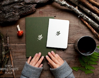 Forest notebook with a carved pattern - Leaf - set of 2 notebook
