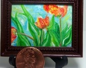 Miniature 1:12 Scale Handmade Original Oil Painting for Collectors / Dollhouse Artwork / Fridge Magnet / Fine Art / Red and Yellow Tulips