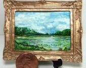 Miniature 1:12 Scale Handmade Original Oil Painting for Collectors / Dollhouse Artwork / Fridge Magnet / Fine Art / Mississippi River Scene