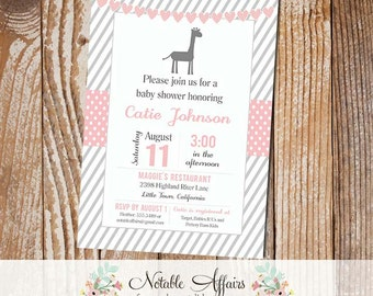 Gray and Light Pink Stripes with Giraffe and Heart Bunting Modern Girl Baby Shower Invitation