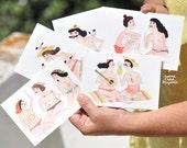 8 Postcard SET // BATHERS // Fine art paper collection