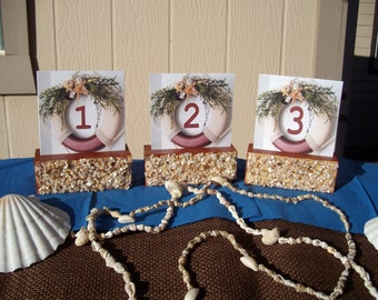 NAUTICAL...Table Numbers...Beach Theme,,,Destination...Event...Set of Six with holders