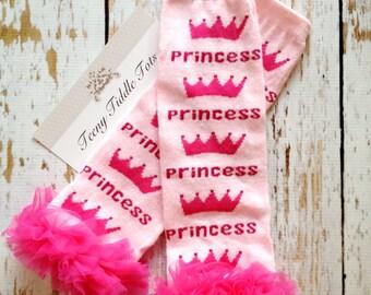 Pink Princess Leg Warmers, Baby Leg Warmers, Princess Leg warmers with ruffles