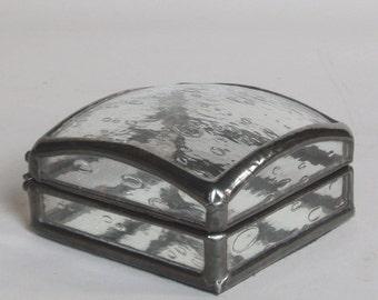 Glass jewelry box - small dome rain drop pattern - ring box