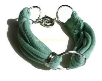 Light Green Fabric Bracelet, Layering Bracelet, Arm Candy, Women Bracelet, Best Friend, Jewelry, Statement Bracelet, Boho Jewelry