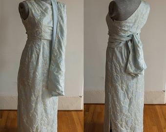 Custom Made Blue 1960's Long Silk Dress with Sash