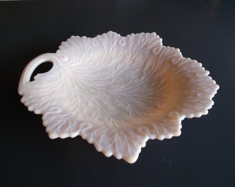 Vintage Fenton Grape Leaf Pattern Pink Milk Glass Footed Decorative Plate Or Dish 1950s