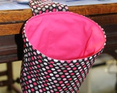 TheScrapSak - Pink Polka dot Fabric with Metallic Silver Accents