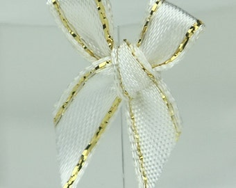 B-018  / Little Satin Ribbon Bows / 100 Pcs / Color - white/ gold / Size : 2-3 cm.