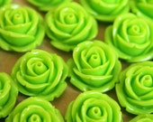 CLOSEOUT - 10 pc. Lime Green Large Rose Cabochons 19mm | RES-330
