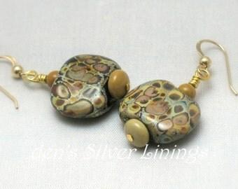 Raku Earrings, Handcrafted Raku Lampwork Glass, Jasper, and 14Kt Gold Filled Dangle Earrings