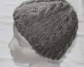 Knit Hat - Beanie Hat - Cable Knit Hat -  Grey/Gray - Acrylic and Wool Blend - Womens Xtra-Small - Winter Accessories