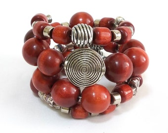 Wood Boho Bracelet, Stacked Bracelets, Rusty, Layered Bracelet, Terracotta, Metalic, Handpainted, Charm Artisan Jewelry