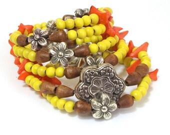 Stacked Bracelets, Boho Bracelet, Orange, Yellow, Grey, Rosary bracelet, Layered Bracelet, Charm Bracelet, Artisan Jewelry, Minimal, Colored