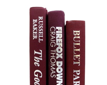 Burgundy Marsala Vintage Books/ Book Decor / Instant Library / Decorative Books/Wedding Decor/Photo Prop/Book Bundle/Old Books/Home Staging