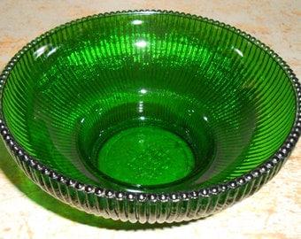 Vintage Bowl,  Green Glass Bowl, Hoosier Glass, Footed Bowl, Green Bowl, Pedestal Bowl, Glass Bowl, Green Glass