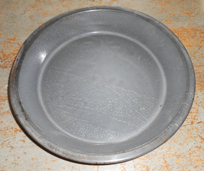 Vintage Pie Tin Primitive Enamel Pie Pan Grey Speckled