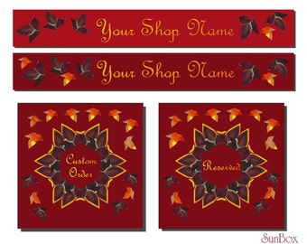 Your Shop Banners. Autumn Leaves In Forest. Orange And Purple Leaves. Autumn Leaves Wreath.