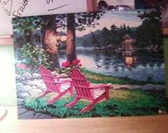 sunset lake house Painting