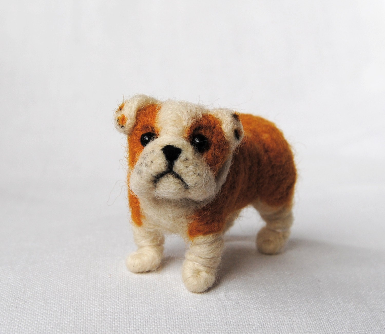 English Bulldog Miniature Dollhouse Puppy Felt Dog Needle
