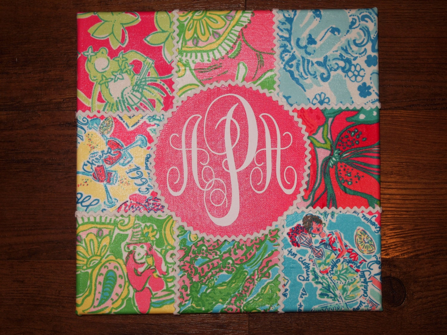 custom lilly pulitzer fabric covered canvas monogrammed
