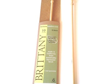 """Brittany Hand Carved 10"""" Wood Single Point Knitting Needle Size 10 or 6.0mm"""