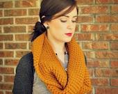 crochet infinity/circle scarf in mustard