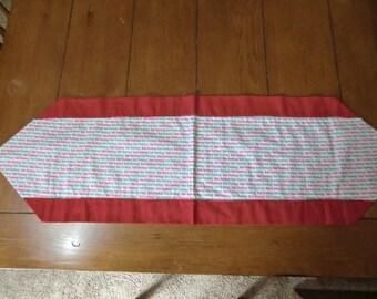 Table Runner - Christmas - Bah Humbug - Red Glitter Back