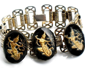 Siam Dancers Bracelet Unique Vintage Collectible Jewelry Juliana  Clasp Filigree Link Silver Black Gold Unique Vintage Bracelet Mystery