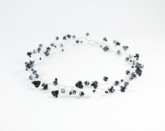 Prom hair Tiara, Black Crystals headpiece, Crystals crown, Prom head piece, Flower Crystals tiara, Halo, hairpiece