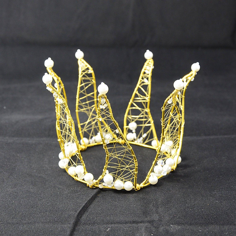 White and Gold Princess Crown Wedding Crown Flower Girl Gold Princess Crown