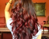 Brown Ombre Hair Extensions, Medium Brown Ombre Hair and Subtle Paprika Red Fade, Weft Hair, Track Hair, Custom Your Base color, Studio She